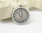 6 pcs Silver Ox Clock or Watch Charm Pendant  18x15mm CM017-SO