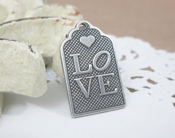 Shop Closing Sale! 4 pcs Silver Ox Love Tag with Heart Charm Pendant 21x12mm CM010-SO