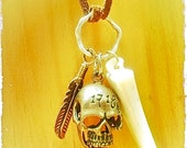Unisex Skull and Vintage Ivory Horn - Charm Necklace on Suede