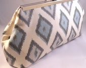 Teal and Grey Ikat Diamond Clutch