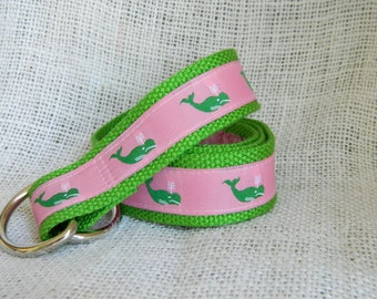 Green Whales on Pink Ribbon with Green Webbing D-Ring Belt