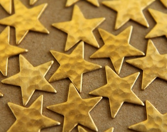 12 pc. Raw Brass Hammered Stars: 12mm by 12mm - made in USA | RB-012