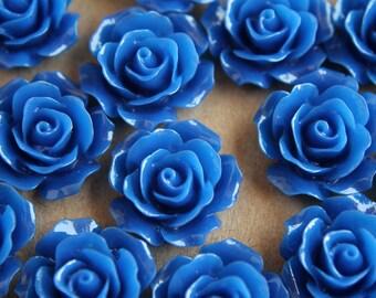 20 pc. Royal Blue Crisp Petal Rose Cabochons 18mm | RES-321