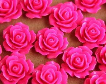 20 pc. Neon Pink Crisp Petal Rose Cabochons 18mm | RES-008