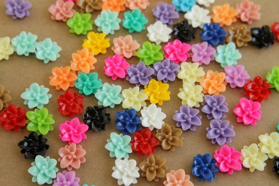 40 pc. Multi-Colored Lotus Flower Cabochons 12mm - RES-198