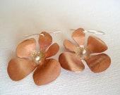 Mixed metal copper sterling silver earrings, flower dangle earrings, handmade metalwork organic earrings