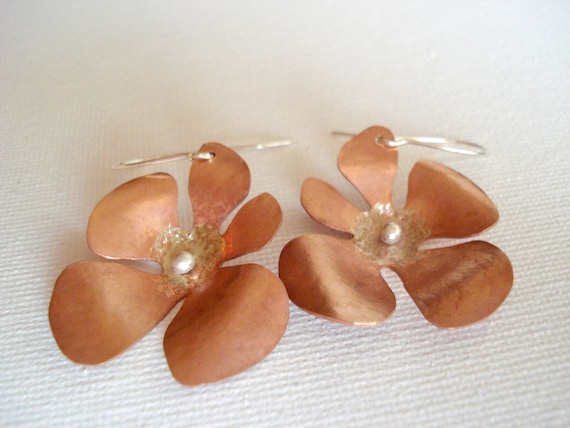Mixed metal copper sterling silver earrings, flower dangle earrings, handmade metalwork organic earrings