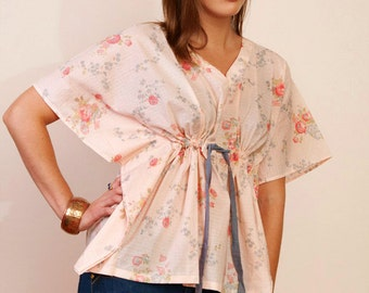 PEACH SORBET Cotton kaftan croped top in floral print and empire waist. Beach cover up. Great gift for her.
