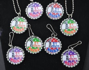 4  Bottlecap  1st Grade Necklace or Zipper Pull DIY Kits, First grade class craft, class party craft idea, christmas party craft