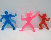 Set of  1980s Vintage Rubber Hero Toys