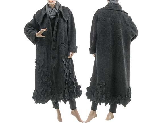 Amazing artsy flared long coat, boiled wool in grey / for plus size women / large extra large L XL XXL  / leaves appliqués / Fall Winter