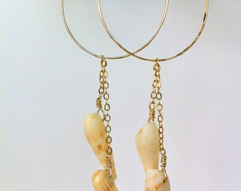 Double Auger Shell Gold Hoops
