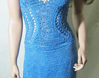 Blue Circle Dress thin strap lace back