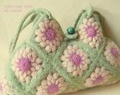 Felted purse JANE JANE JANE midi sized ooak crocheted wet felted shoulder bag 100% New Wool granny square hippie bag lime green ivory cream
