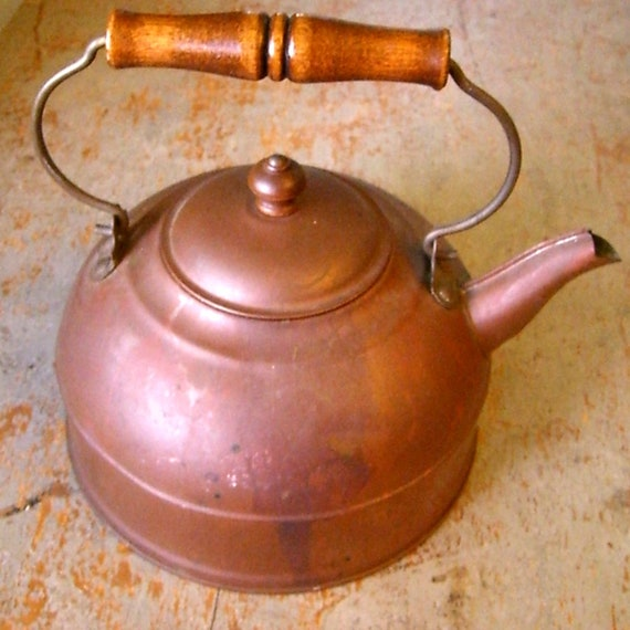 Primitive, Revere Tea Kettle, Copper and Brass, Wood Handle, Vintage Tea Pot