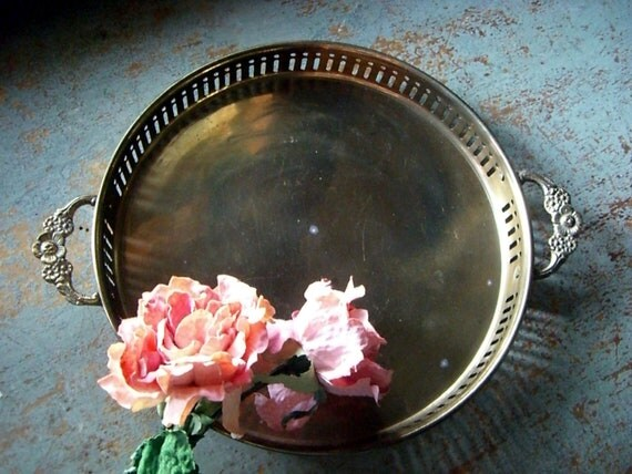 Brass Serving Tray, Vintage,  Round Tray,  Made in India