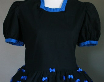CLEARANCE FREE GIFT Handmade Black Blue Gothic Lolita Dress with Tiny Satin Bows Matching Crinoline Tutu Puff Sleeve Contrast Trim Babydoll