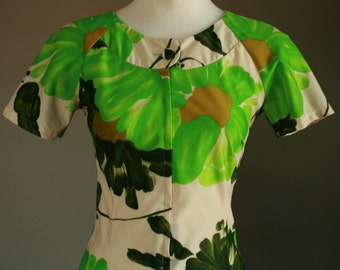 Mod Mini Short Dress Short Sleeves Neon Lime Green Olive Forest Cream Fitted Shift Floral Button Collar Large Bold Print Mad Men