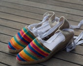 La Casa de La Playa Prêt a Porter: Rainbow stripes Hand painted espadrilles. Size 39. Ready to ship