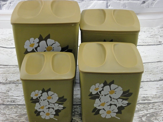Vintage Kitchen Canisters Retro Green White flower 1970s  Never been used