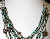 Handmade Recycled seed bead necklace