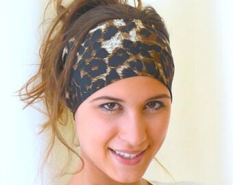 jersey headband - leopard headband yoga headband ear warmer birthday gift christmas gift