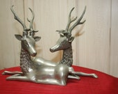 Reserved for Shelly Charming Pair of Silverplated Reindeer Statues