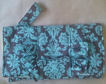 Turquoise Chocolate Damask Ruffled Clutch