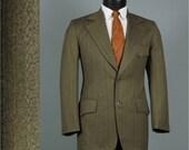 Vintage Mens Suit 1970s Norfolk Hunting WESTERN MOD Milk Chocolate Brown Pinstripe 2 Piece Mens Vintage Suit 40 42