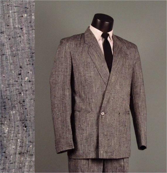 Vintage Mens Suit 1980s MIAMI VICE Style Grey Flecked Double Breasted Baggy Pant 2 Two Piece Men's Vintage Suit