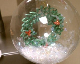 Quilled Wreath in Glass Ornament