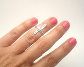 Above the Knuckle Ring - Cross   ring - mate silver plated  ring