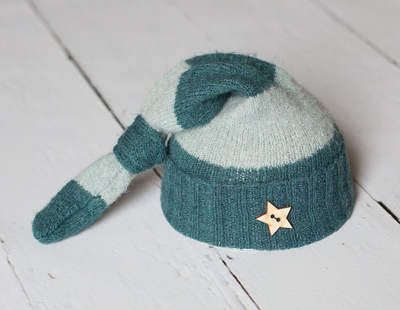 Newborn Upcycled Hat Light Blue and Teal Striped Hat with Wooden Star Button Photography Prop