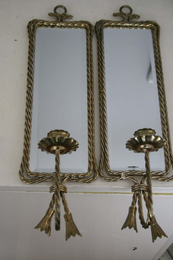Vintage Pair of Hollywood Regency Mirrored Wall Sconces Candle Holder Brass Rope Detail 1940s