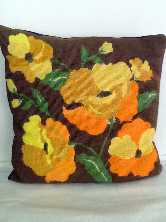Vintage Needlepoint Pillow Embroidered Orange and Yellow Poppies 1960s GROOVY
