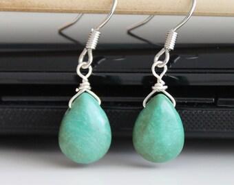 Turquoise drop silver earrings, small teardrop earrings, simple everyday jewelry