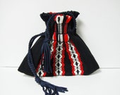 Vintage Boho Peruvian Cinch Bag Red White Navy Blue Purse