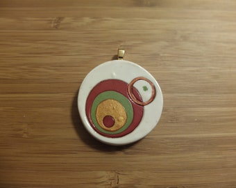 Mod Circles Autumn pendant - polymer clay with gold pendant bail 1