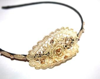 Vintage Gold Color  lace Headband For Girls, Toddlers, Vintage, Swarovski Crystals, Headband, Flower Girls, Modern