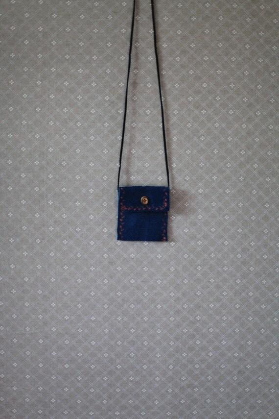 Blue Suede Necklace Pouch