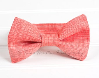 Boy's Bow Tie, Newborn, Baby, Child- Coral, Textured (2-3 Business Day Processing)