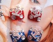 Fake Toes Nails Art Japanese romantic glamorous crown tiara Hime gyaru fake nails set