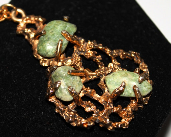 YSL ARTY OVAL-Inspired 1970s Modernist Green and Gold Pendant Necklace