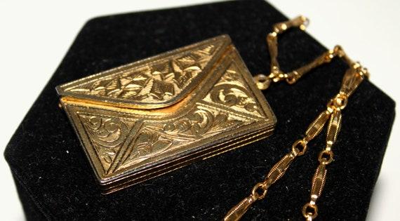 Alice in Wonderland Whimsical Gold 1970s Envelope Pendant Necklace