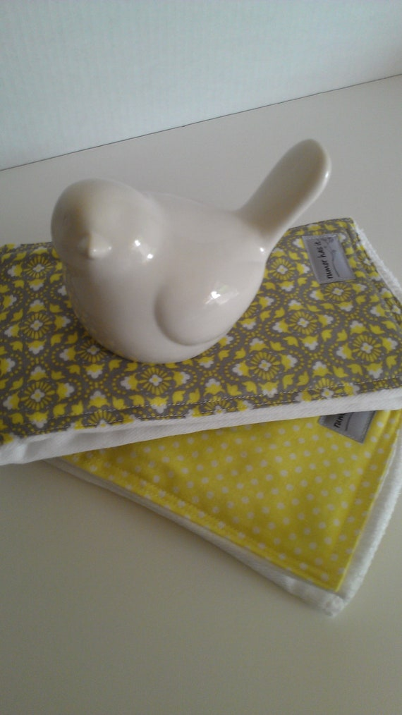 Yellow/Gray Diaper Burp Cloth Set