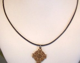 Wooden Celtic Cross on a Brown Leather Necklace -0296