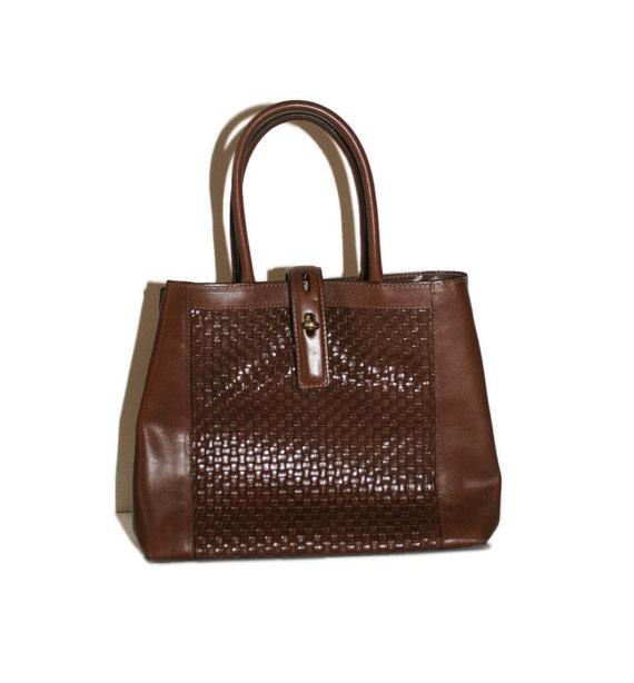 Vintage Brown Leather Basketweave Bag // Orvis