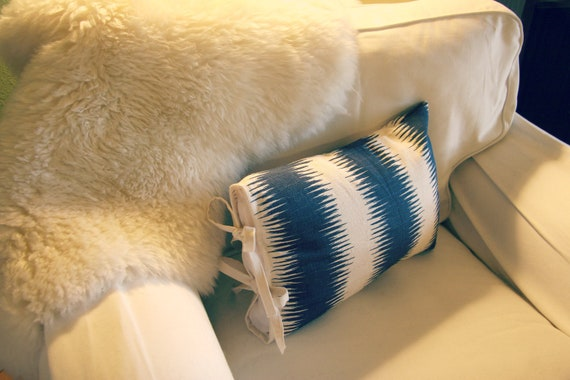 Decorative Pillow Cover 12''x18'', Premier Print Ikat navy blue and natural, ties on the side