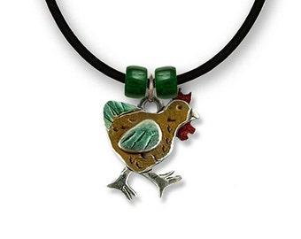 Enamel Chicken Necklace