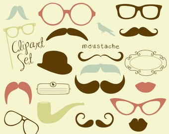 Mustache, Spectacles and Lips Kiss Digital Clipart Set. Photo Booth, individual clip art elements. Best Wedding Party Props